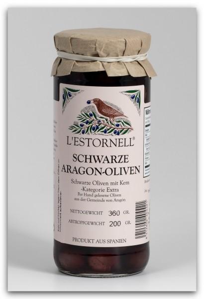 L'Estornell schwarze Aragon Oliven mit Kern - 360 g