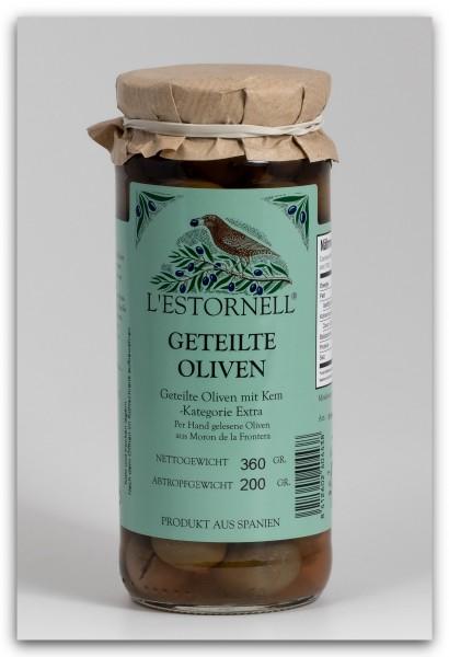 L'Estornell geteilte Oliven mit Kern - 360 g